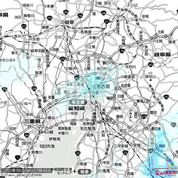 名古屋の天気(雨) 降水強度: 1.65(mm/h)  2018年10月04日 07時45分の雨雲 https://t.co/cYrRU9sV0H #雨雲bot #bot https://t.co/wfGxElB2nE