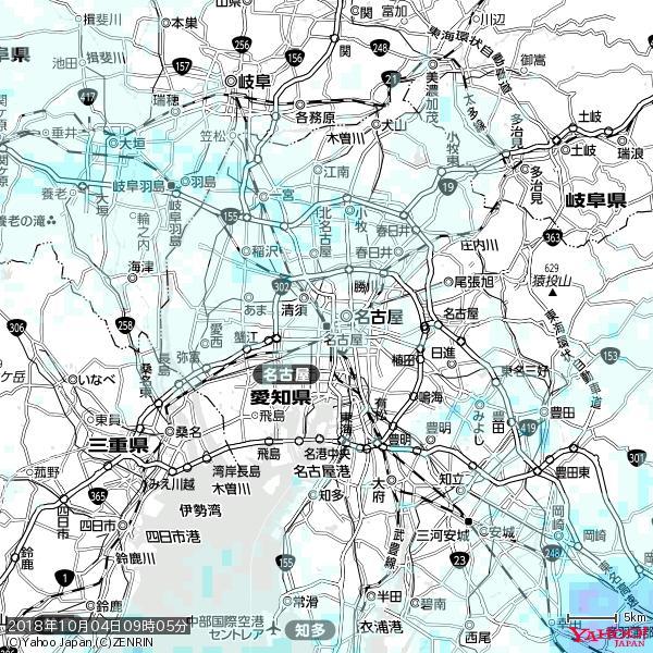 名古屋の天気(雨) 降水強度: 0.75(mm/h)  2018年10月04日 09時05分の雨雲 https://t.co/cYrRU9sV0H #雨雲bot #bot https://t.co/ikikT47XTa