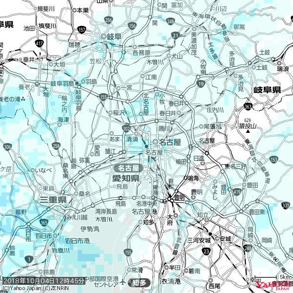 名古屋の天気(雨) 降水強度: 1.65(mm/h)  2018年10月04日 12時45分の雨雲 https://t.co/cYrRU9sV0H #雨雲bot #bot https://t.co/bk5JJYBZ0h