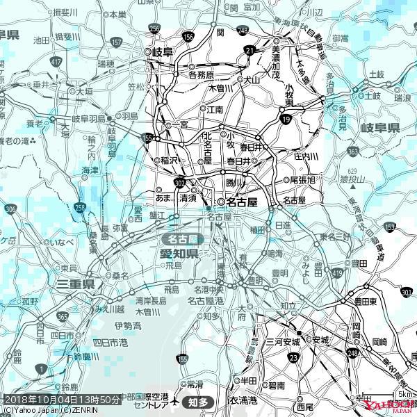 名古屋の天気(雨) 降水強度: 1.15(mm/h)  2018年10月04日 13時50分の雨雲 https://t.co/cYrRU9sV0H #雨雲bot #bot https://t.co/asTFUg088R