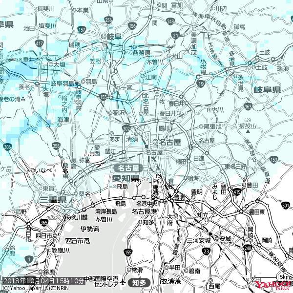 名古屋の天気(雨) 降水強度: 0.55(mm/h)  2018年10月04日 15時10分の雨雲 https://t.co/cYrRU9sV0H #雨雲bot #bot https://t.co/swzm4u0Awq