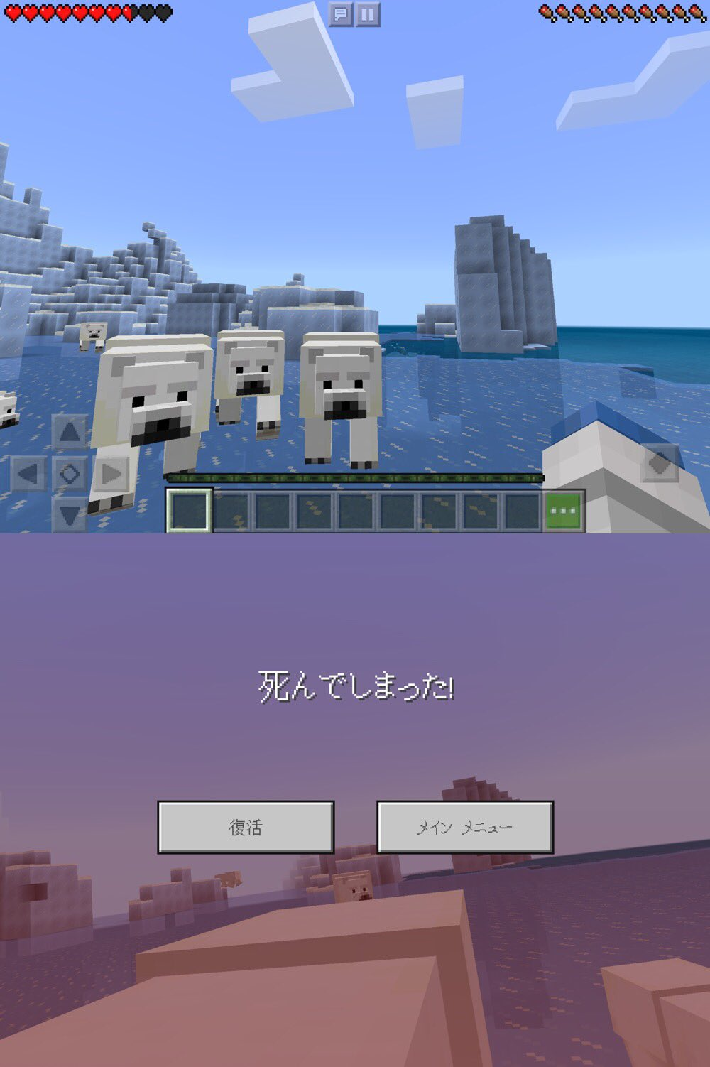Minecraft でかわいい子グマ ʕ•ᴥ•ʔ をばしばし叩いてたら、ホッキョクグマの群れに追われて死んでしまったでござる(; ̄(工) ̄) https://t.co/UpQUkCyEB8