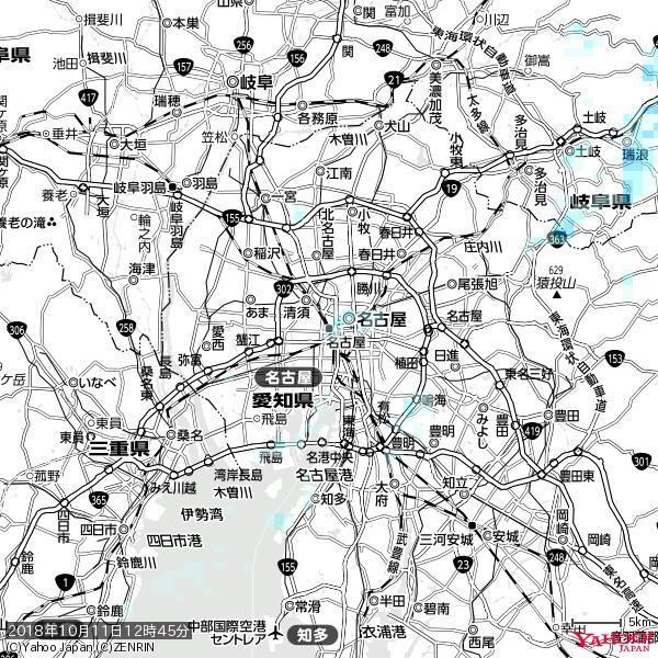 名古屋の天気(雨) 降水強度: 0.55(mm/h)  2018年10月11日 12時45分の雨雲 https://t.co/cYrRU9sV0H #雨雲bot #bot https://t.co/j2SSAOSViX