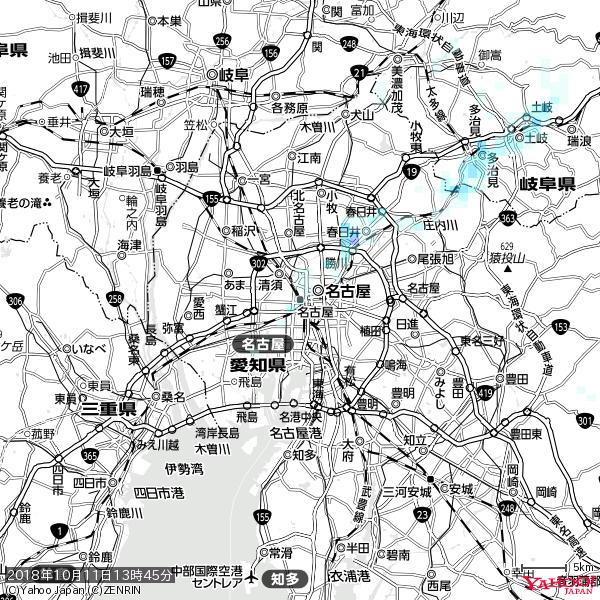 名古屋の天気(雨) 降水強度: 0.85(mm/h)  2018年10月11日 13時45分の雨雲 https://t.co/cYrRU9sV0H #雨雲bot #bot https://t.co/g73axVkB3K