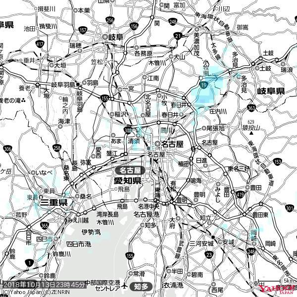 名古屋の天気(雨) 降水強度: 0.55(mm/h)  2018年10月13日 23時45分の雨雲 https://t.co/cYrRU9sV0H #雨雲bot #bot https://t.co/MWBo9JkFmG