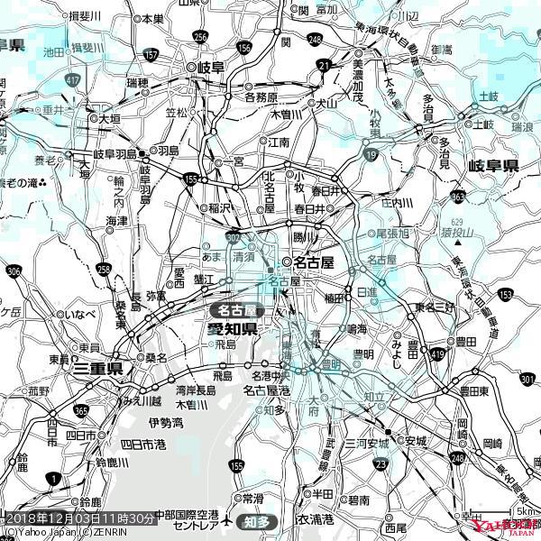 名古屋の天気(雨) 降水強度: 0.65(mm/h)  2018年12月03日 11時30分の雨雲 https://t.co/cYrRU9sV0H #雨雲bot #bot https://t.co/O2CKvpGZFL