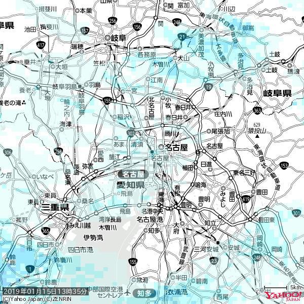 名古屋の天気(雨) 降水強度: 1.15(mm/h)  2019年01月15日 13時35分の雨雲 https://t.co/cYrRU9sV0H #雨雲bot #bot https://t.co/T8XpTctPhL