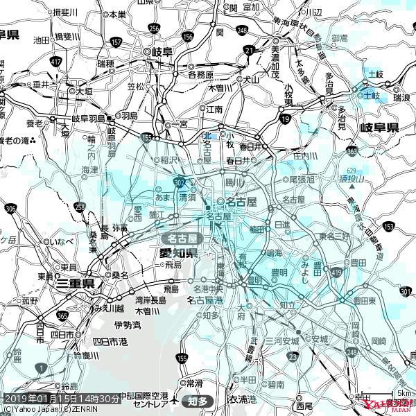 名古屋の天気(雨) 降水強度: 1.75(mm/h)  2019年01月15日 14時30分の雨雲 https://t.co/cYrRU9sV0H #雨雲bot #bot https://t.co/fnMPhzdF5a