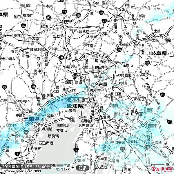 名古屋の天気(雨) 降水強度: 1.45(mm/h)  2019年01月15日 16時40分の雨雲 https://t.co/cYrRU9sV0H #雨雲bot #bot https://t.co/MC1wF3lURq