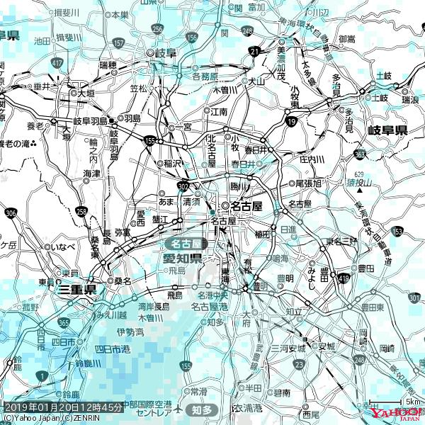 名古屋の天気(雨) 降水強度: 1.25(mm/h)  2019年01月20日 12時45分の雨雲 https://t.co/cYrRU9sV0H #雨雲bot #bot https://t.co/If1c1ju090