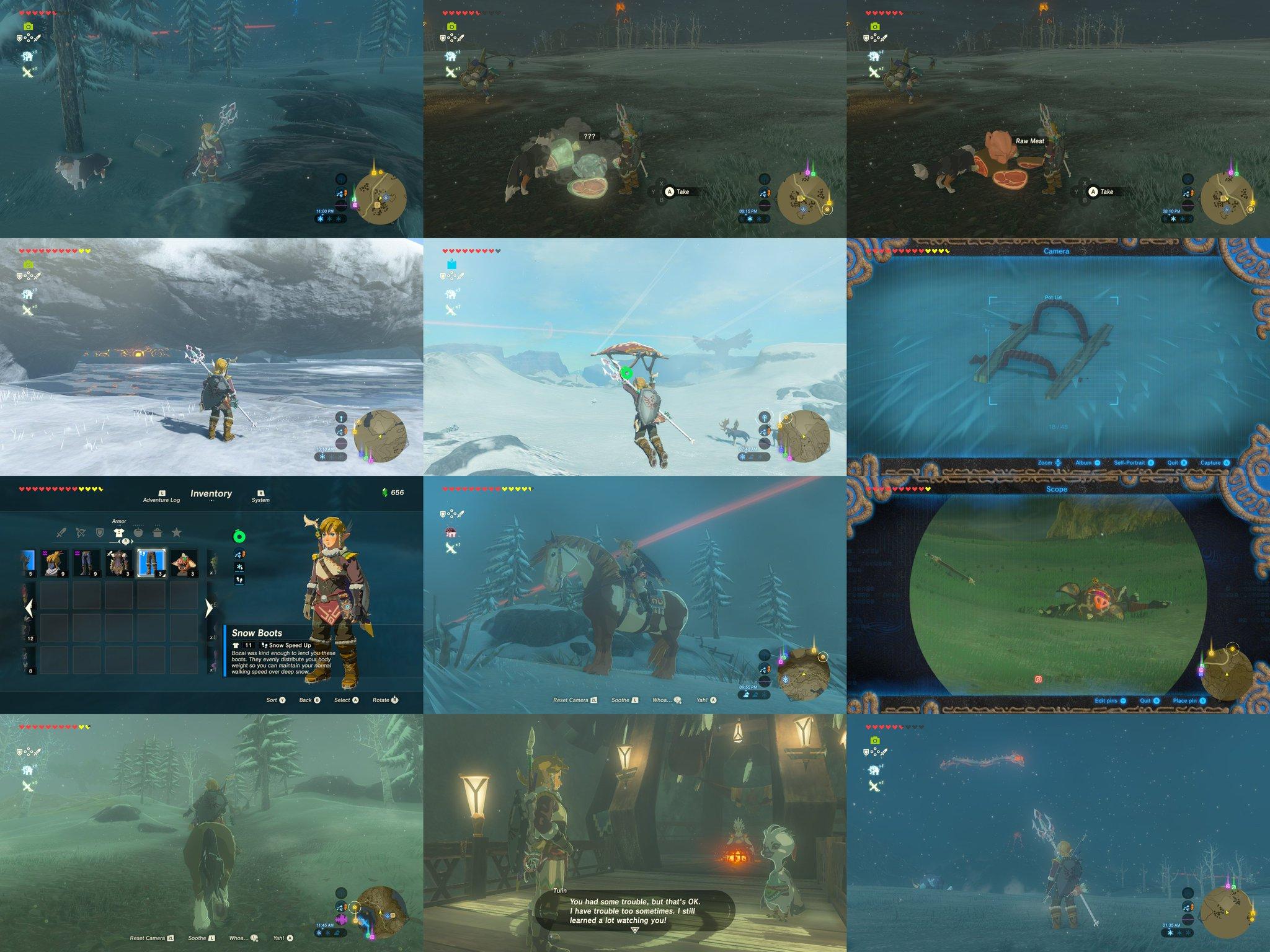 ここほれワンワンやってみた。スノーブーツをくれたボテンサさんは英語版だと Bozai さんらしい。乗馬の練習どうどう。魔物が寝てるのでふいうち。 鍋のフタが雪に埋もれててナニコレ的な。 #ゼルダの伝説 #BreathoftheWild #NintendoSwitch https://t.co/00n2TBSGl2