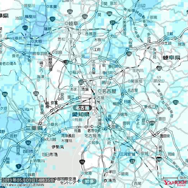 名古屋の天気(雨) 降水強度: 1.45(mm/h)  2019年05月01日 14時35分の雨雲 https://t.co/cYrRU9bk99 #雨雲bot #bot https://t.co/UM5oowSn2u