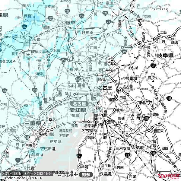 名古屋の天気(雨) 降水強度: 0.55(mm/h)  2019年05月01日 20時45分の雨雲 https://t.co/cYrRU9sV0H #雨雲bot #bot https://t.co/AD8N3fJBSL