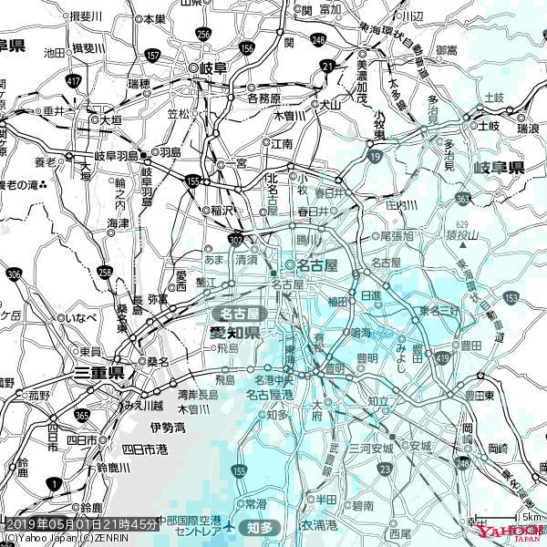 名古屋の天気(雨) 降水強度: 1.05(mm/h)  2019年05月01日 21時45分の雨雲 https://t.co/cYrRU9sV0H #雨雲bot #bot https://t.co/Ak4w1vFBll