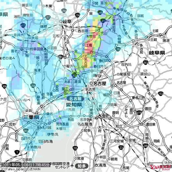 名古屋の天気(雨) 降水強度: 1.25(mm/h)  2019年05月06日 17時45分の雨雲 https://t.co/cYrRU9sV0H #雨雲bot #bot https://t.co/7E6zsXyREI