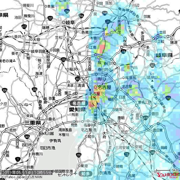 名古屋の天気(雨) 降水強度: 5.75(mm/h)  2019年05月14日 10時55分の雨雲 https://t.co/cYrRU9sV0H #雨雲bot #bot https://t.co/M9ueNHUZc8
