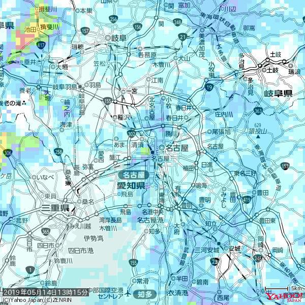 名古屋の天気(雨) 降水強度: 7.25(mm/h)  2019年05月14日 13時15分の雨雲 https://t.co/cYrRU9sV0H #雨雲bot #bot https://t.co/i0AhAj88Aa