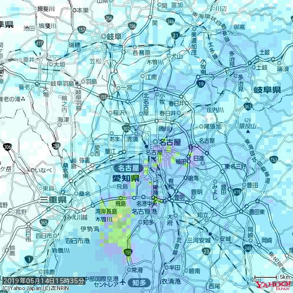 名古屋の天気(雨) 降水強度: 4.88(mm/h)  2019年05月14日 15時35分の雨雲 https://t.co/cYrRU9sV0H #雨雲bot #bot https://t.co/PDHrLHCKg8