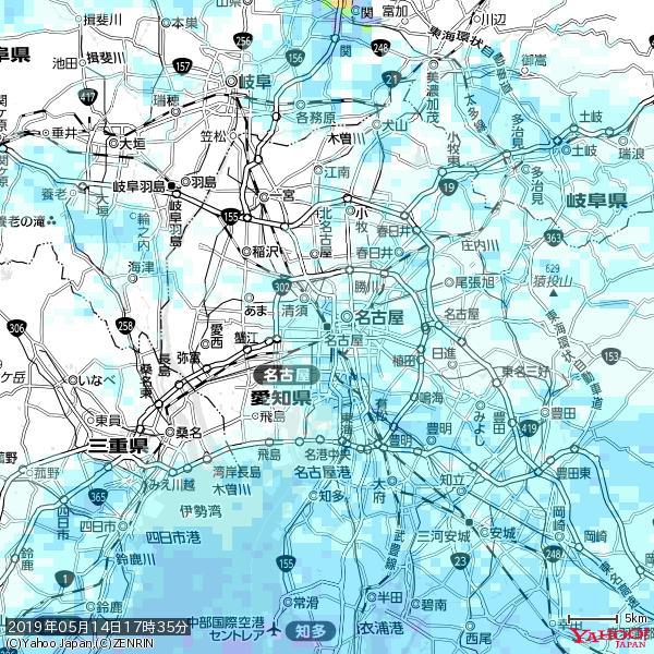 名古屋の天気(雨) 降水強度: 1.75(mm/h)  2019年05月14日 17時35分の雨雲 https://t.co/cYrRU9sV0H #雨雲bot #bot https://t.co/P4TjXDz7Q0