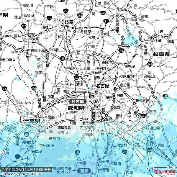 名古屋の天気(雨) 降水強度: 1.35(mm/h)  2019年05月14日 18時05分の雨雲 https://t.co/cYrRU9sV0H #雨雲bot #bot https://t.co/EK3BJQhdpf
