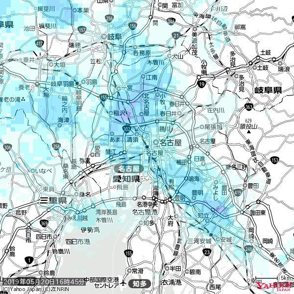 名古屋の天気(雨) 降水強度: 2.38(mm/h)  2019年05月20日 16時45分の雨雲 https://t.co/cYrRU9sV0H #雨雲bot #bot https://t.co/5iGZ7LHM9h