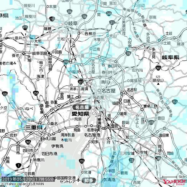 名古屋の天気(雨) 降水強度: 0.45(mm/h)  2019年05月20日 17時55分の雨雲 https://t.co/cYrRU9sV0H #雨雲bot #bot https://t.co/ahRr1yb9N9