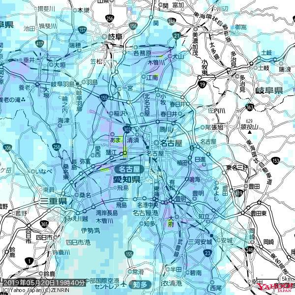 名古屋の天気(雨) 降水強度: 3.63(mm/h)  2019年05月20日 19時40分の雨雲 https://t.co/cYrRU9sV0H #雨雲bot #bot https://t.co/YmE0MNNcmP