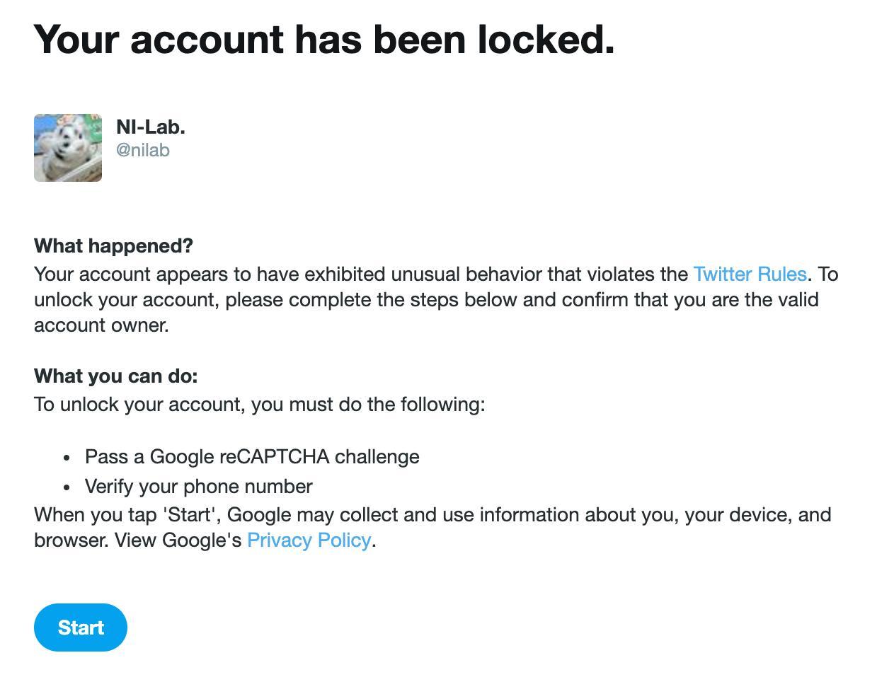 またTwitterアカウントがロックされてしまった。。。アプリは日本語表記だけどWeb版では英語表示にしているからいつもの「自動化に関するTwitterルールに違反」じゃなくて「Your account appears to have exhibited unusual behavior that violates the Twitter Rules.」になってる。 https://t.co/jTbsHjZdYm