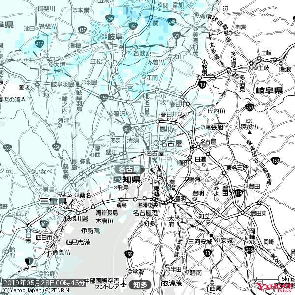名古屋の天気(雨) 降水強度: 0.25(mm/h)  2019年05月28日 00時45分の雨雲 https://t.co/cYrRU9sV0H #雨雲bot #bot https://t.co/7uZswL14J2