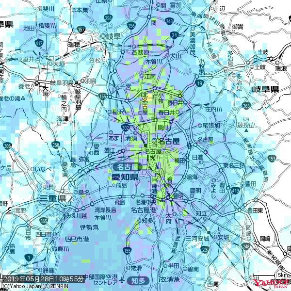 名古屋の天気(雨): 強い雨 降水強度: 21.50(mm/h)  2019年05月28日 10時55分の雨雲 https://t.co/cYrRU9sV0H #豪雨bot #雨雲bot #bot https://t.co/8hAlTFK2qT