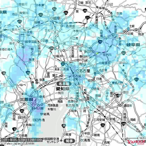 名古屋の天気(雨) 降水強度: 2.88(mm/h)  2019年05月28日 12時10分の雨雲 https://t.co/cYrRU9sV0H #雨雲bot #bot https://t.co/ghFc9awqFS