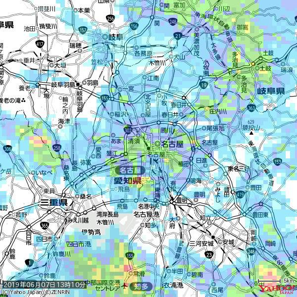 名古屋の天気(雨): やや強い雨 降水強度: 19.50(mm/h)  2019年06月07日 13時10分の雨雲 https://t.co/cYrRU9sV0H #雨雲bot #bot https://t.co/9yII5dypQq