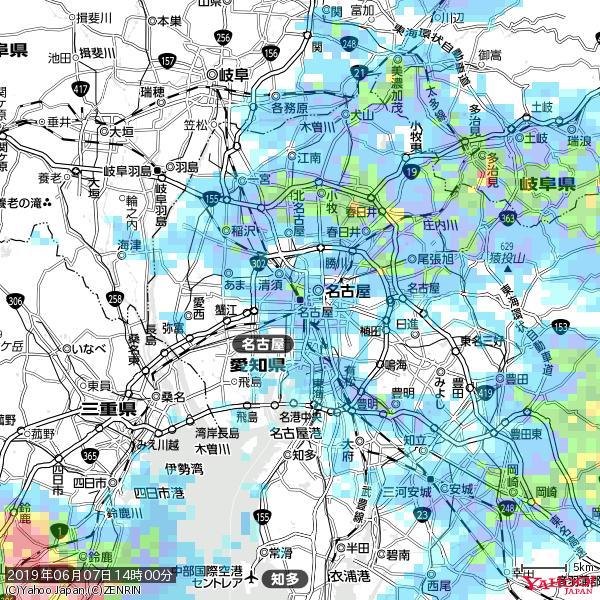 名古屋の天気(雨): やや強い雨 降水強度: 11.50(mm/h)  2019年06月07日 14時00分の雨雲 https://t.co/cYrRU9sV0H #雨雲bot #bot https://t.co/0kIjxDUntQ