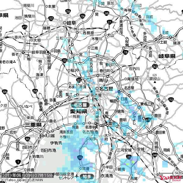 名古屋の天気(雨) 降水強度: 2.38(mm/h)  2019年06月09日 07時15分の雨雲 https://t.co/cYrRU9sV0H #雨雲bot #bot https://t.co/hHiVDgE35R