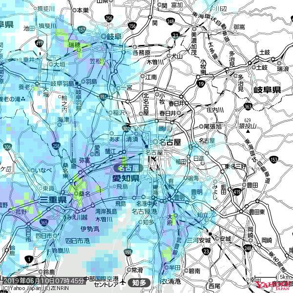 名古屋の天気(雨) 降水強度: 5.25(mm/h)  2019年06月10日 07時45分の雨雲 https://t.co/cYrRU9sV0H #雨雲bot #bot https://t.co/lMqkGTRQGU