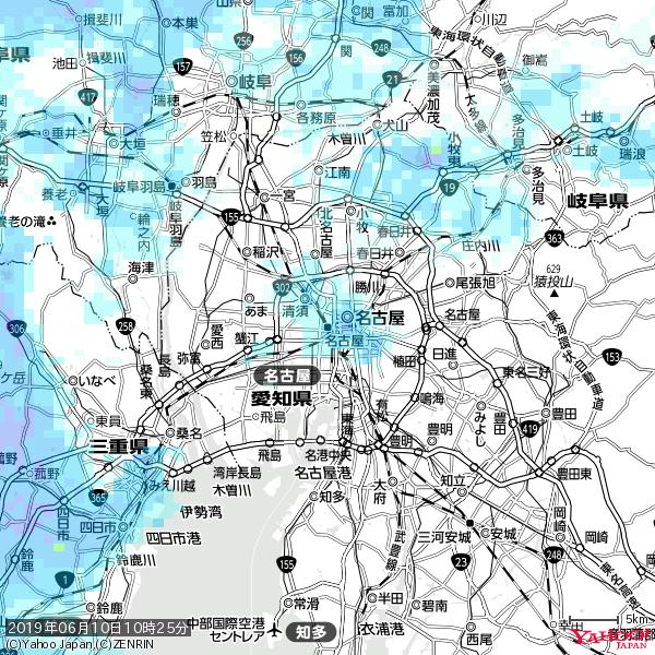 名古屋の天気(雨) 降水強度: 3.13(mm/h)  2019年06月10日 10時25分の雨雲 https://t.co/cYrRU9sV0H #雨雲bot #bot https://t.co/mIccfGU4hq