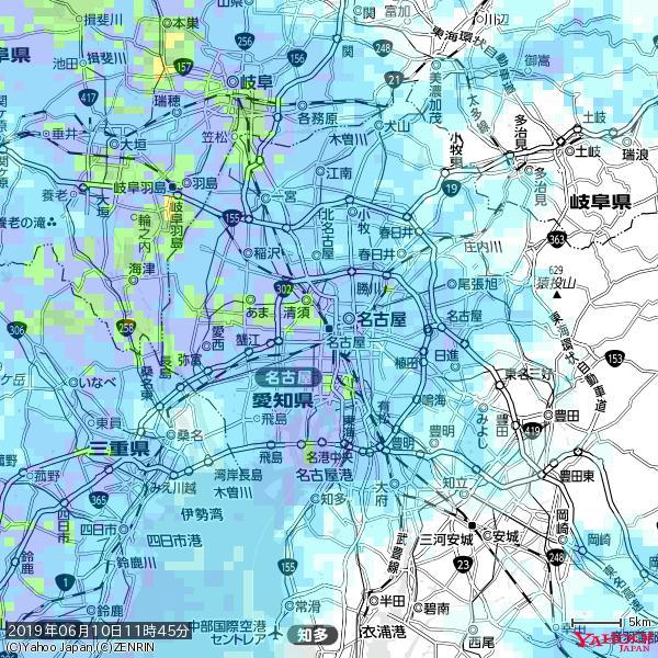 名古屋の天気(雨) 降水強度: 7.75(mm/h)  2019年06月10日 11時45分の雨雲 https://t.co/cYrRU9sV0H #雨雲bot #bot https://t.co/svCPkjhrfu