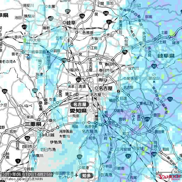 名古屋の天気(雨) 降水強度: 1.55(mm/h)  2019年06月10日 14時25分の雨雲 https://t.co/cYrRU9sV0H #雨雲bot #bot https://t.co/cQBDzNdJAs