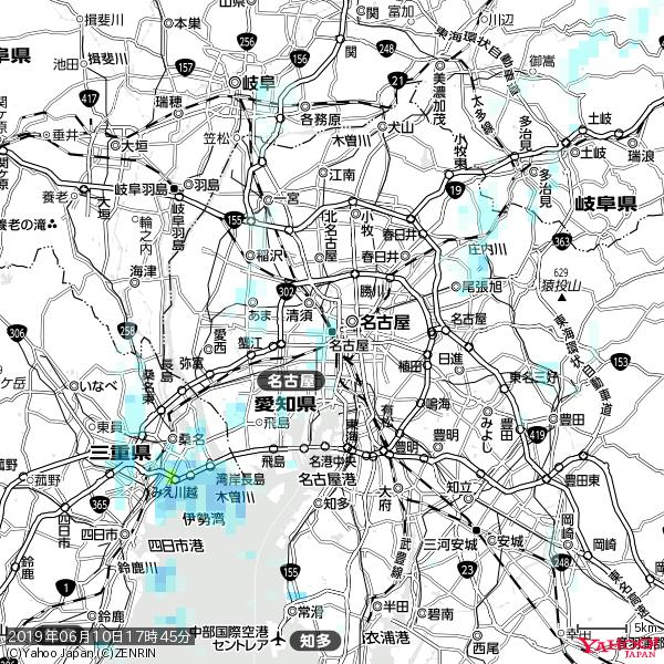 名古屋の天気(雨) 降水強度: 1.25(mm/h)  2019年06月10日 17時45分の雨雲 https://t.co/cYrRU9sV0H #雨雲bot #bot https://t.co/1sFvmARAH4