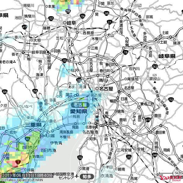 名古屋の天気(雨) 降水強度: 2.63(mm/h)  2019年06月11日 18時40分の雨雲 https://t.co/cYrRU9sV0H #雨雲bot #bot https://t.co/CPu7fOKMcN