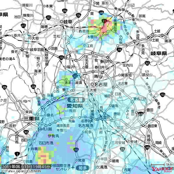 名古屋の天気(雨) 降水強度: 0.65(mm/h)  2019年06月11日 19時45分の雨雲 https://t.co/cYrRU9sV0H #雨雲bot #bot https://t.co/Nwi2YnX2UN