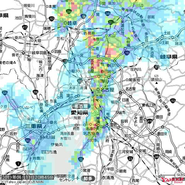 名古屋の天気(雨): やや強い雨 降水強度: 10.50(mm/h)  2019年06月11日 20時45分の雨雲 https://t.co/cYrRU9sV0H #雨雲bot #bot https://t.co/0NFhnldhug