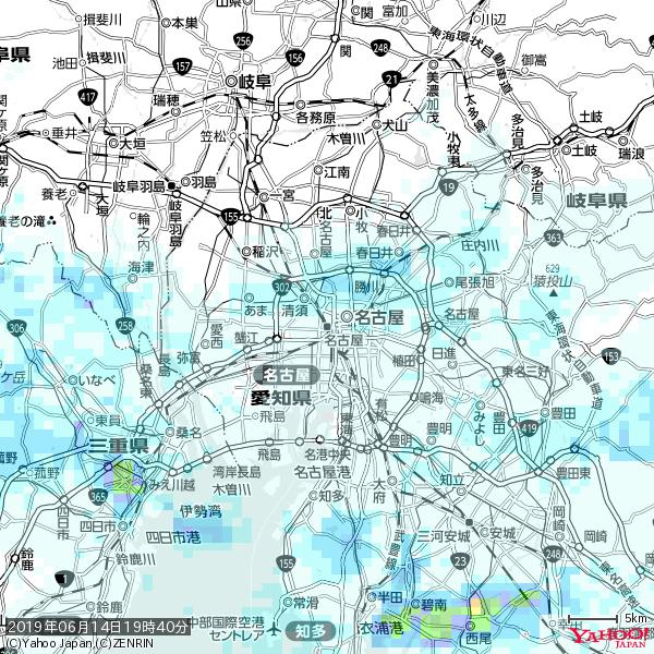 名古屋の天気(雨) 降水強度: 0.95(mm/h)  2019年06月14日 19時40分の雨雲 https://t.co/cYrRU9sV0H #雨雲bot #bot https://t.co/QEGMdI4ZXF