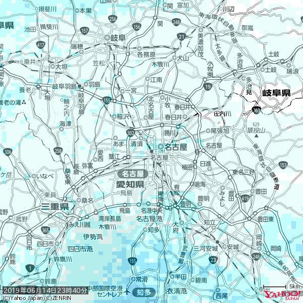 名古屋の天気(雨) 降水強度: 0.95(mm/h)  2019年06月14日 23時40分の雨雲 https://t.co/cYrRU9sV0H #雨雲bot #bot https://t.co/5XsEmxYlxz