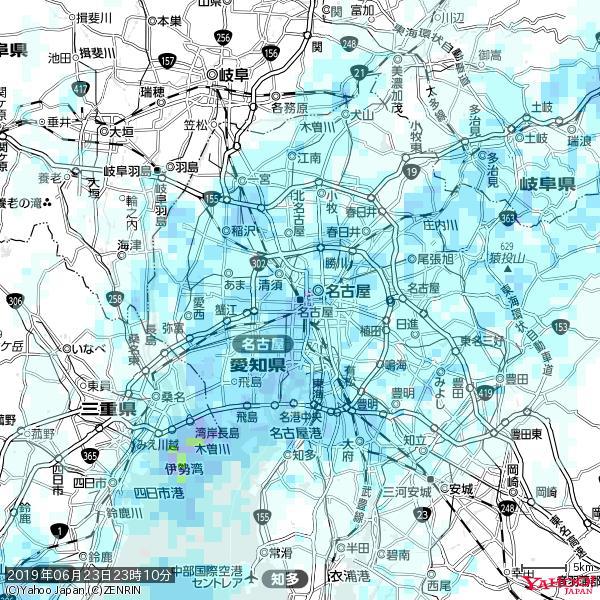 名古屋の天気(雨) 降水強度: 6.75(mm/h)  2019年06月23日 23時10分の雨雲 https://t.co/cYrRU9sV0H #雨雲bot #bot https://t.co/abed7gOYGp