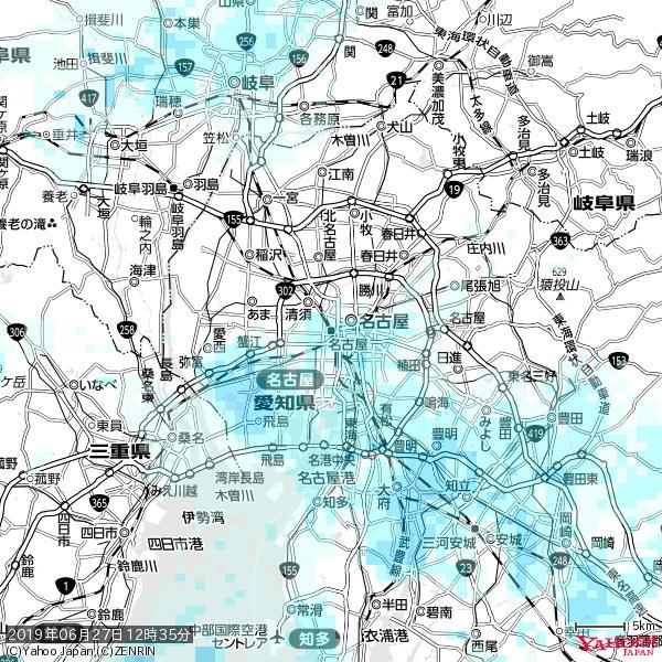 名古屋の天気(雨) 降水強度: 1.55(mm/h)  2019年06月27日 12時35分の雨雲 https://t.co/cYrRU9sV0H #雨雲bot #bot https://t.co/ZYi4g4du95