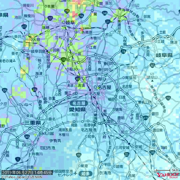 名古屋の天気(雨) 降水強度: 8.75(mm/h)  2019年06月27日 14時45分の雨雲 https://t.co/cYrRU9sV0H #雨雲bot #bot https://t.co/5g56AA6D9E