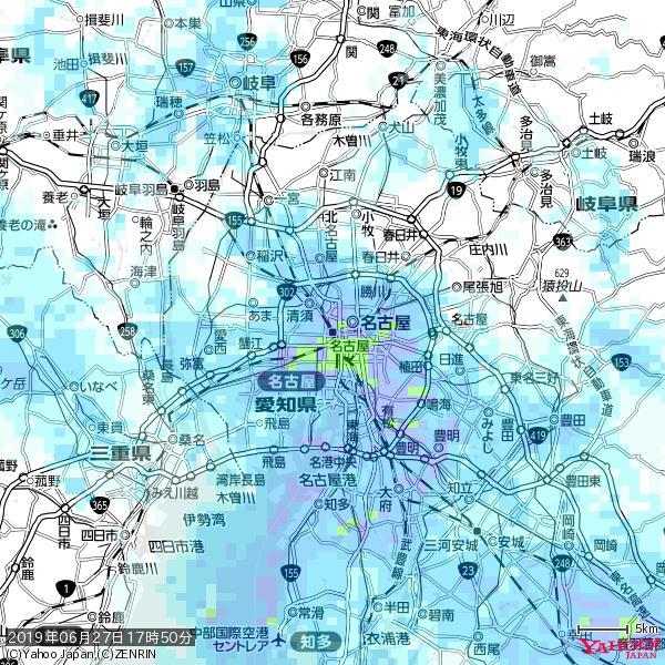 名古屋の天気(雨) 降水強度: 9.75(mm/h)  2019年06月27日 17時50分の雨雲 https://t.co/cYrRU9sV0H #雨雲bot #bot https://t.co/0ctY2aoi4j