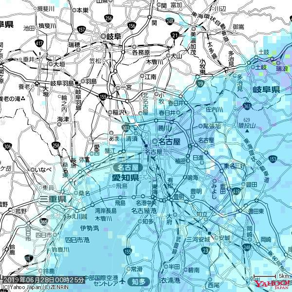名古屋の天気(雨) 降水強度: 4.88(mm/h)  2019年06月28日 00時25分の雨雲 https://t.co/cYrRU9bk99 #雨雲bot #bot https://t.co/KruKi3cyHT