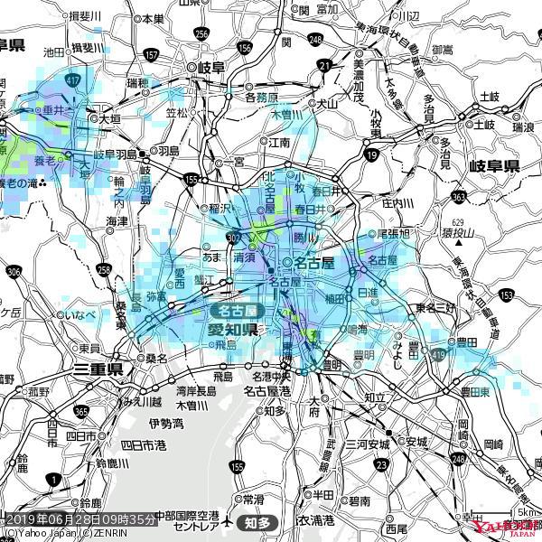 名古屋の天気(雨) 降水強度: 7.75(mm/h)  2019年06月28日 09時35分の雨雲 https://t.co/cYrRU9sV0H #雨雲bot #bot https://t.co/IZqOoabCo7